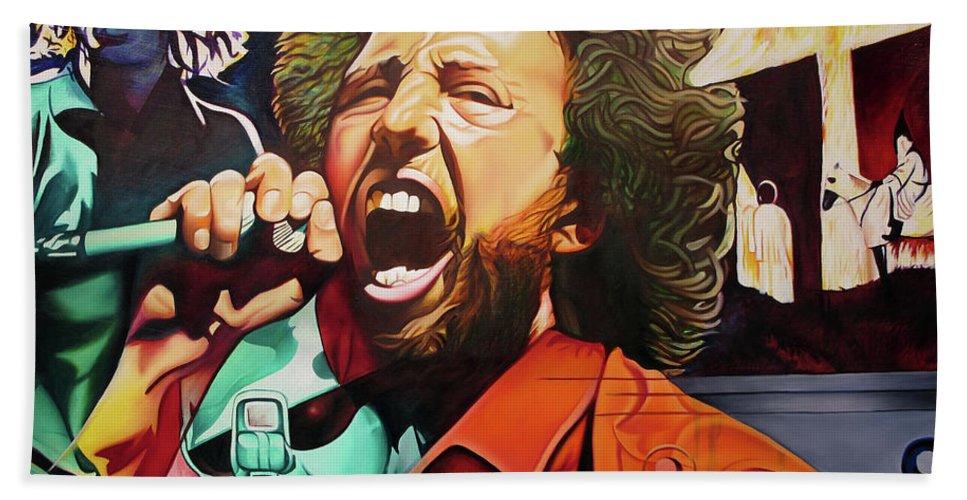Zack De La Rocha Beach Towel featuring the painting Zack De La Rocha-killing In The Name by Joshua Morton
