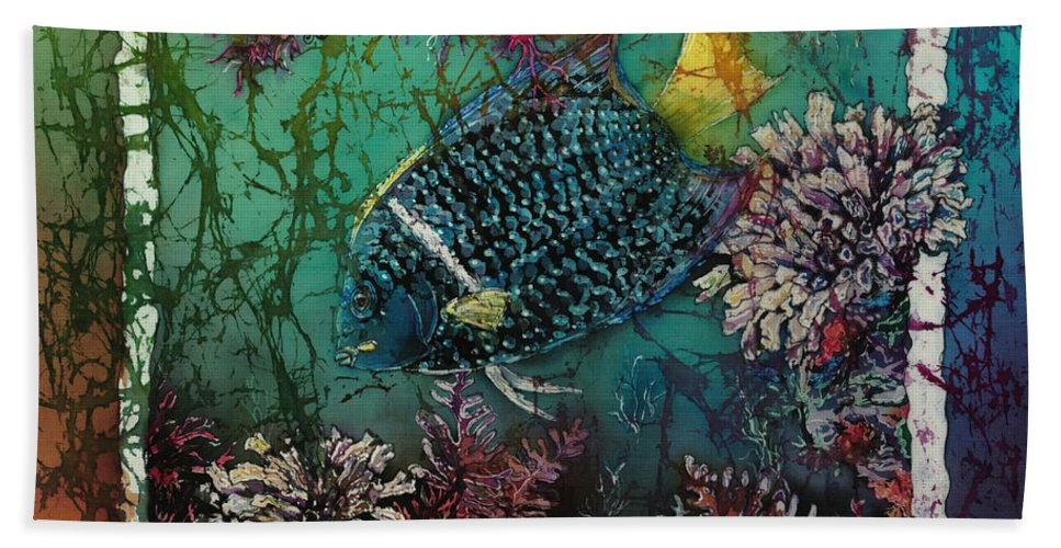 King Angelfish Beach Towel featuring the painting King Angelfish by Sue Duda