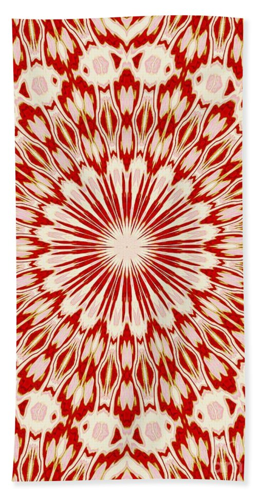 Red Beach Towel featuring the digital art Kissing Fish Kaleidoscope by Sharon Woerner