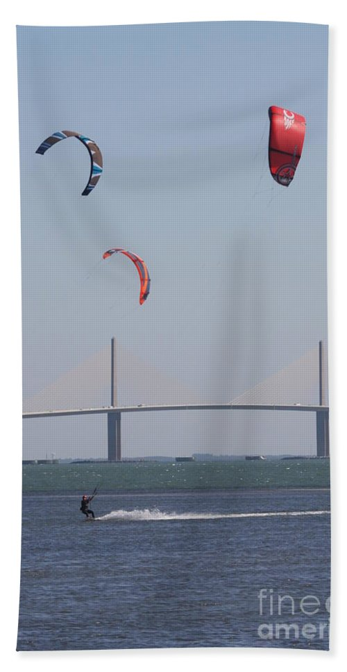 Bridge Beach Towel featuring the photograph Kite Surfer And Skyway Bridge by Christiane Schulze Art And Photography