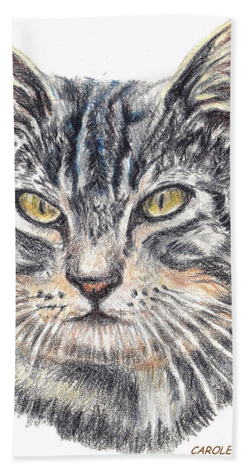 Cats Beach Towel featuring the painting Kitty Kat Iphone Cases Smart Phones Cells And Mobile Cases Carole Spandau Cbs Art 337 by Carole Spandau