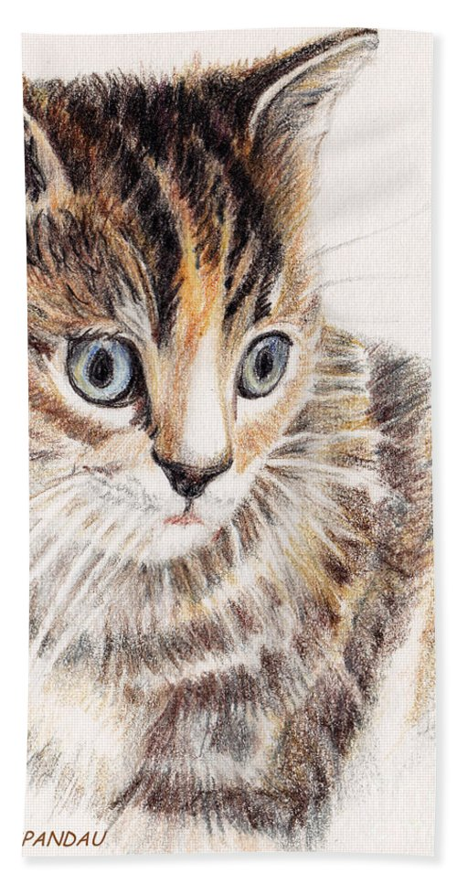 Cats Beach Towel featuring the painting Kitty Kat Iphone Cases Smart Phones Cells And Mobile Cases Carole Spandau Cbs Art 345 by Carole Spandau
