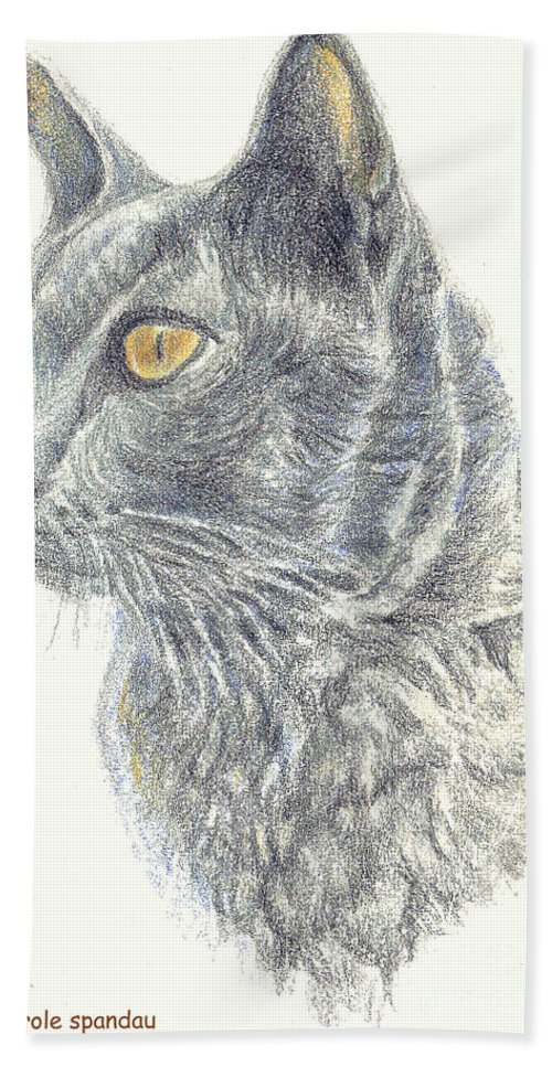Cats Beach Towel featuring the painting Kitty Kat Iphone Cases Smart Phones Cells And Mobile Cases Carole Spandau Cbs Art 347 by Carole Spandau
