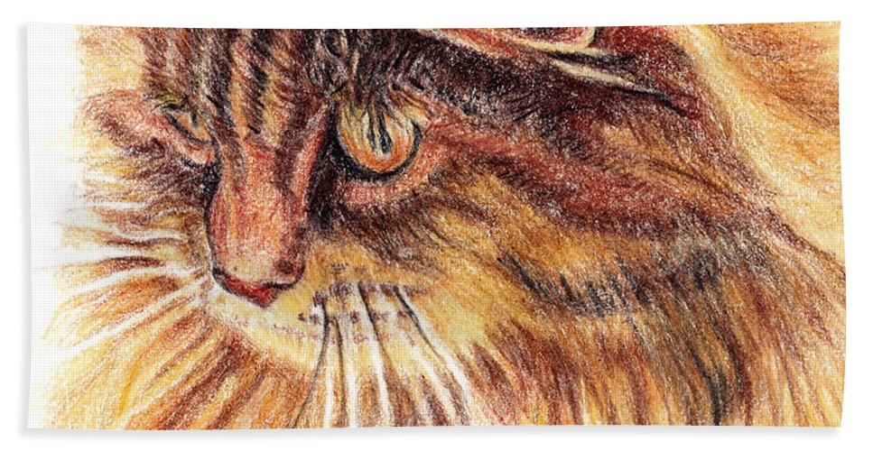 Cats Beach Towel featuring the painting Kitty Kat Iphone Cases Smart Phones Cells And Mobile Cases Carole Spandau Cbs Art 352 by Carole Spandau