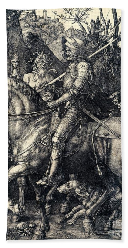 Knight Beach Towel featuring the drawing Knight Death And The Devil by Albrecht Durer