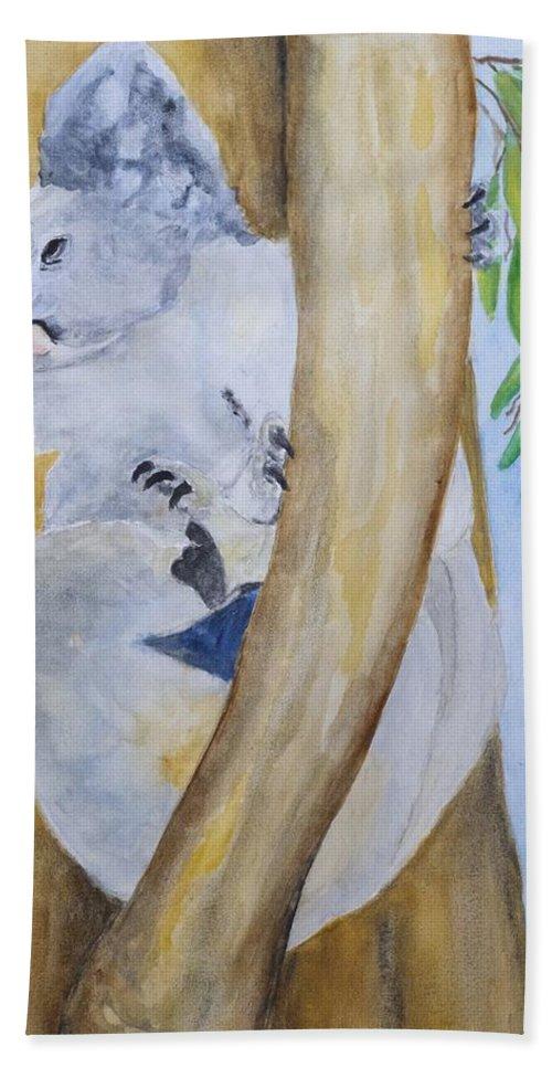 Koala Beach Towel featuring the painting Koala Still Life by Patricia Beebe