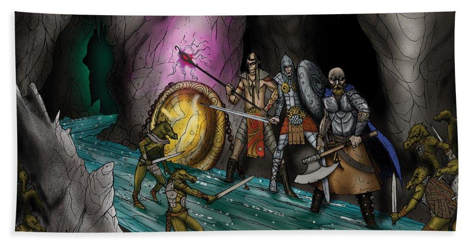Usherwood Beach Sheet featuring the digital art Kobold Entry Cavern by James Kramer