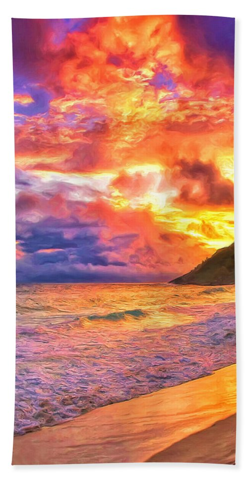 Kohala Beach Towel featuring the painting Kohala Sunset by Dominic Piperata