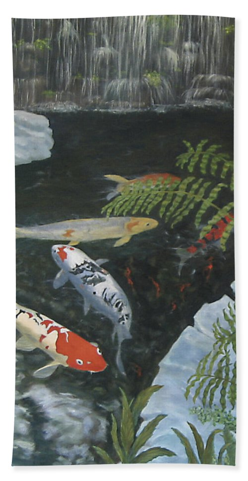 Karen Zuk Rosenblatt Art And Photography Beach Towel featuring the painting Koi Fish by Karen Zuk Rosenblatt