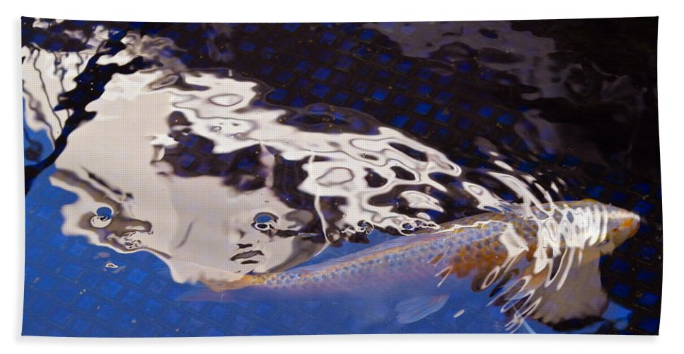 Fish Beach Towel featuring the photograph Koi Pond Abstract by Michele Myers
