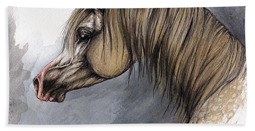 Horse Beach Towel featuring the painting Kordelas by Angel Ciesniarska