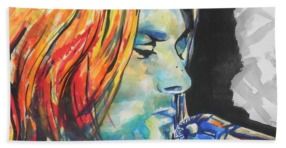 Watercolors Beach Towel featuring the painting Kurt Cobain by Chrisann Ellis