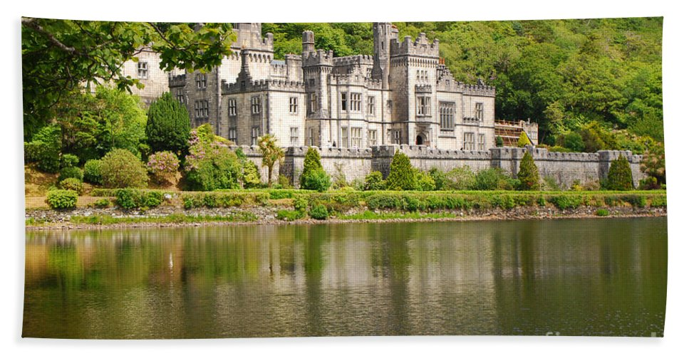 Abbey Beach Towel featuring the photograph Kylemore Abbey 2 by Mary Carol Story