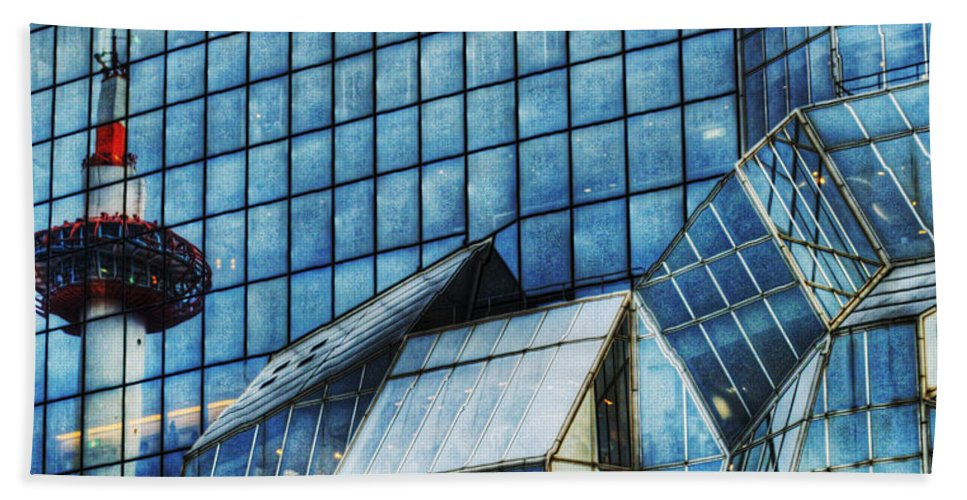 Abstract Beach Towel featuring the photograph Kyoto Train Station by Juli Scalzi