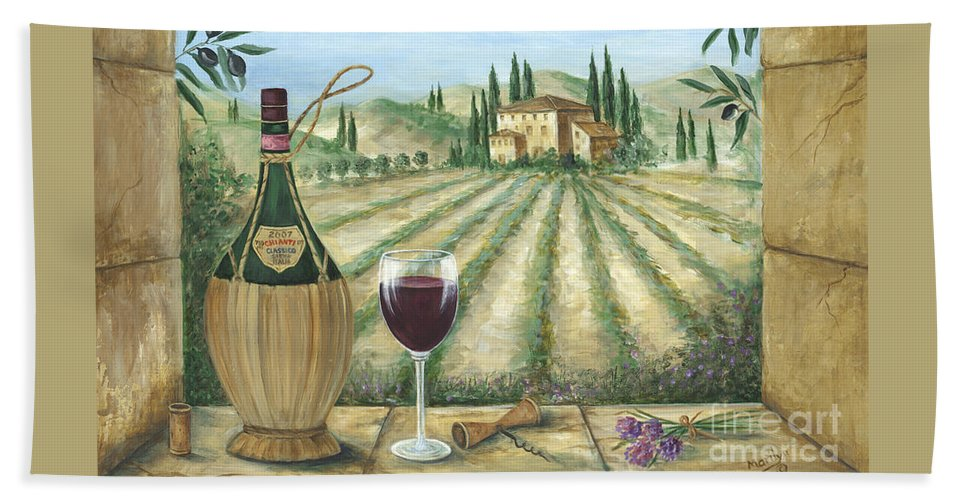 Tuscany Beach Towel featuring the painting La Dolce Vita by Marilyn Dunlap