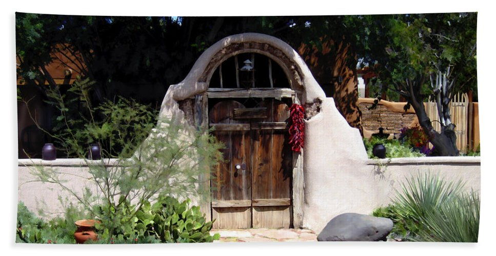 Doors Beach Sheet featuring the photograph La Entrada A La Casa Vieja De Mesilla by Kurt Van Wagner