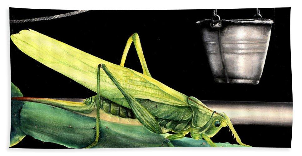 Locust Beach Towel featuring the painting La Locusta E Il Secchio by Danka Weitzen