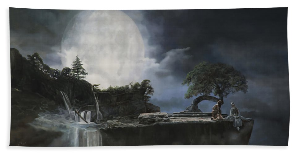Moon Beach Towel featuring the painting La Luna Bianca by Guido Borelli