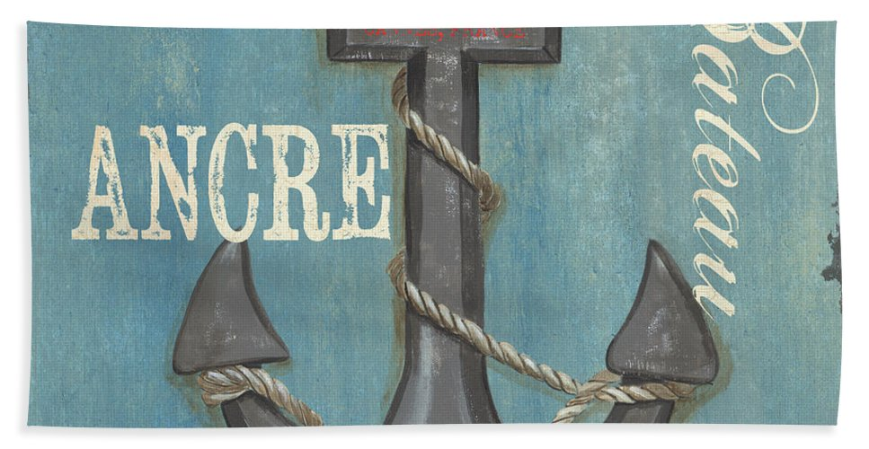 Coastal Beach Towel featuring the painting La Mer Ancre by Debbie DeWitt