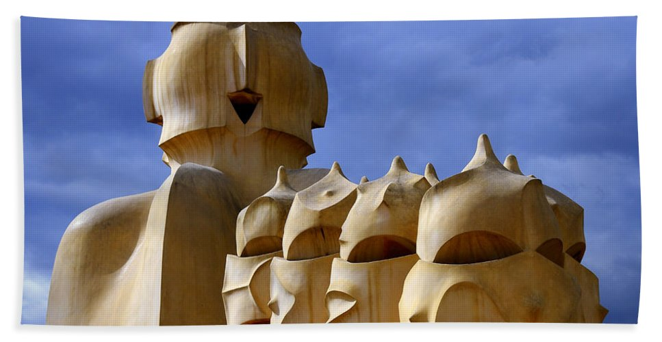 Spain Beach Towel featuring the photograph La Pedrera Chimneys by Jack Daulton