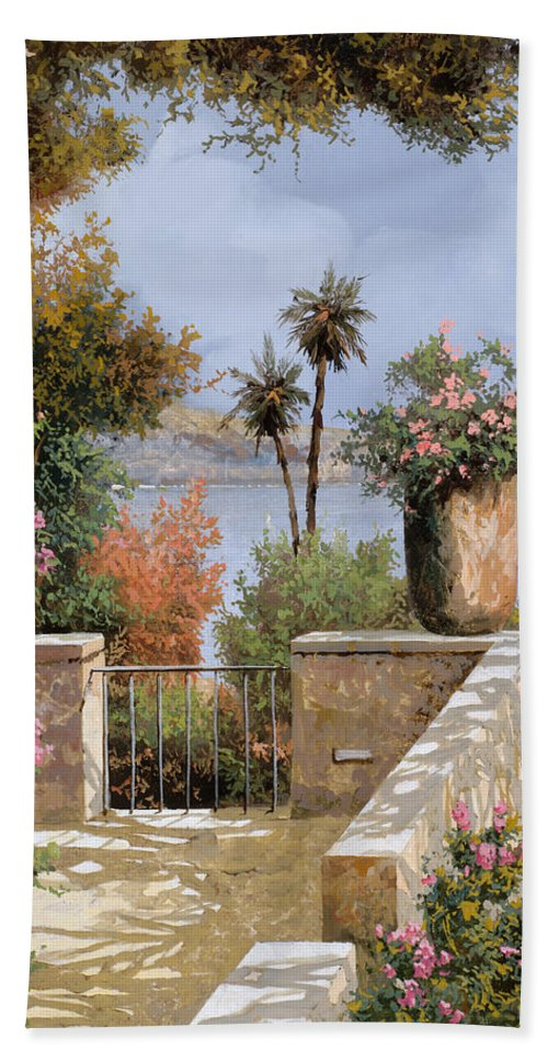 Terrace Beach Towel featuring the painting La Terrazza Un Vaso Due Palme by Guido Borelli