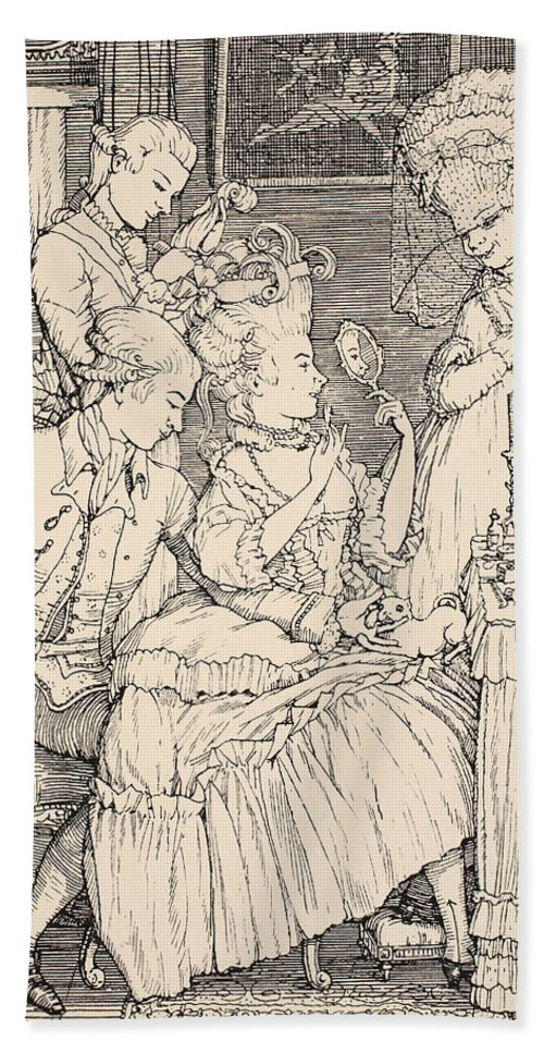 Somov Beach Towel featuring the drawing La Toilette by Konstantin Andreevic Somov