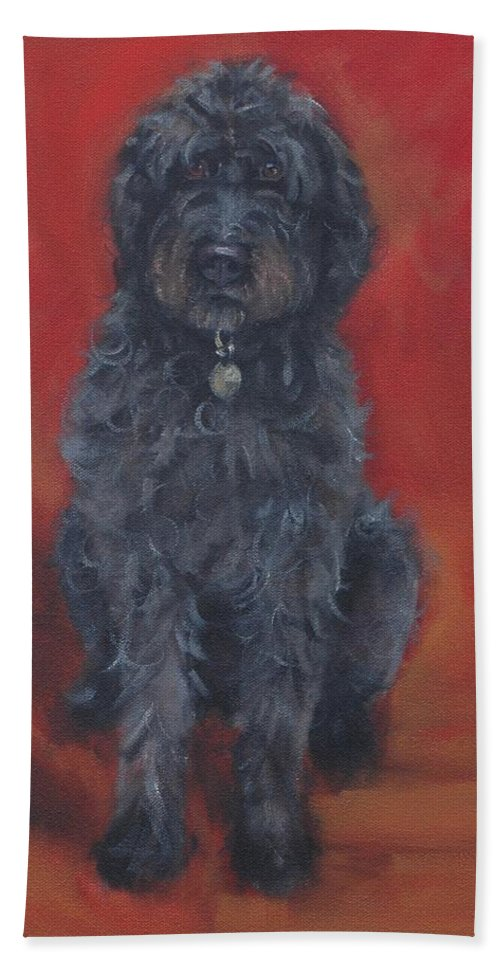 Labradoodle Beach Towel featuring the painting Labradoodle by Pet Whimsy Portraits
