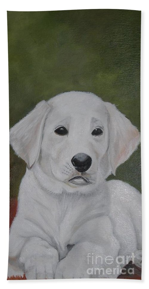 Dog- Labrador Dog Beach Towel featuring the painting Labrador by Graciela Castro