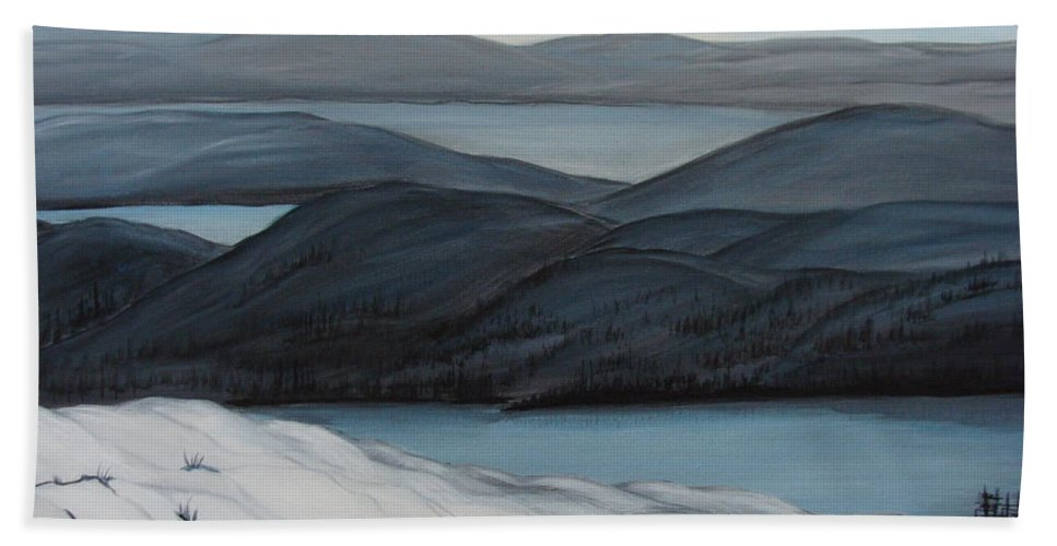 Winter Canvas Prints Beach Towel featuring the painting Labrador The Big Land by Beverly Livingstone
