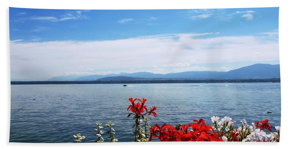 Lake Beach Towel featuring the photograph Lac Leman - Switzerland by Cristina Stefan