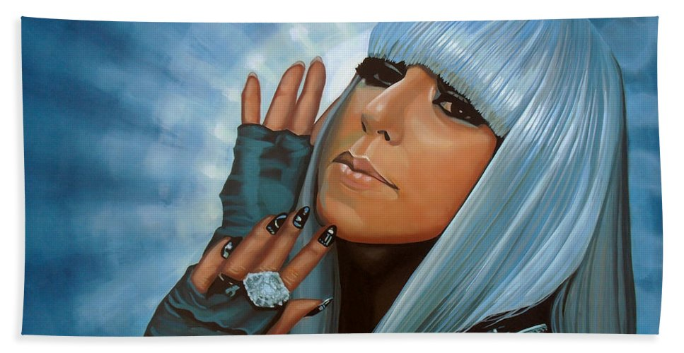 Lady Gaga Beach Towel featuring the painting Lady Gaga Painting by Paul Meijering