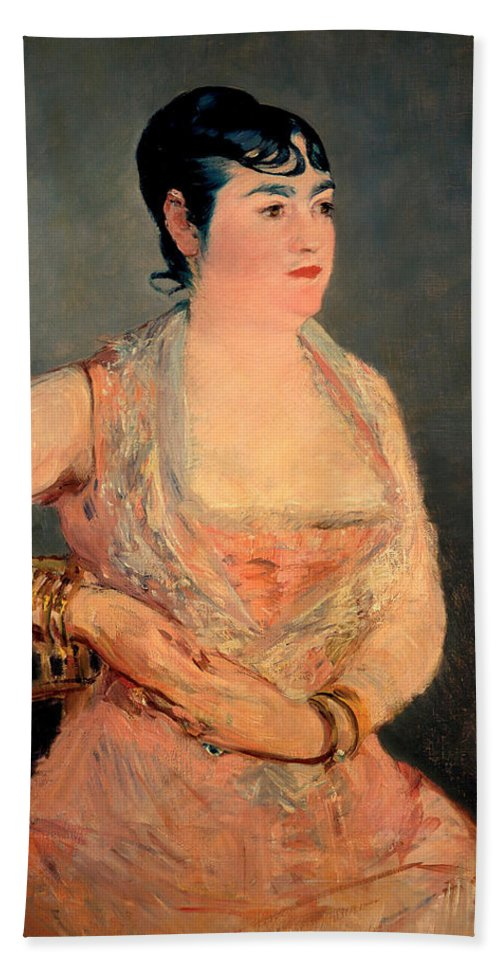 Manet Beach Towel featuring the painting Lady In Pink by Edouard Manet