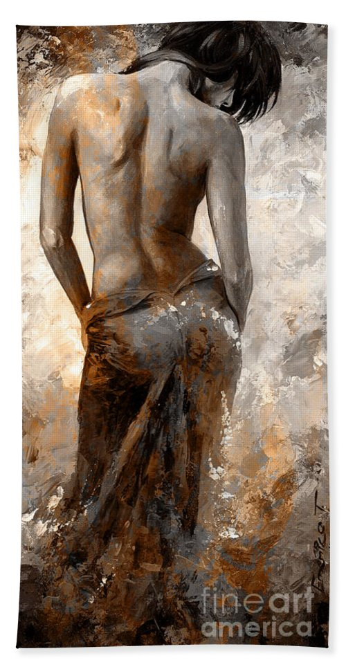Nude Beach Towel featuring the painting Lady In Red #27 Digital Colored Rust by Emerico Imre Toth