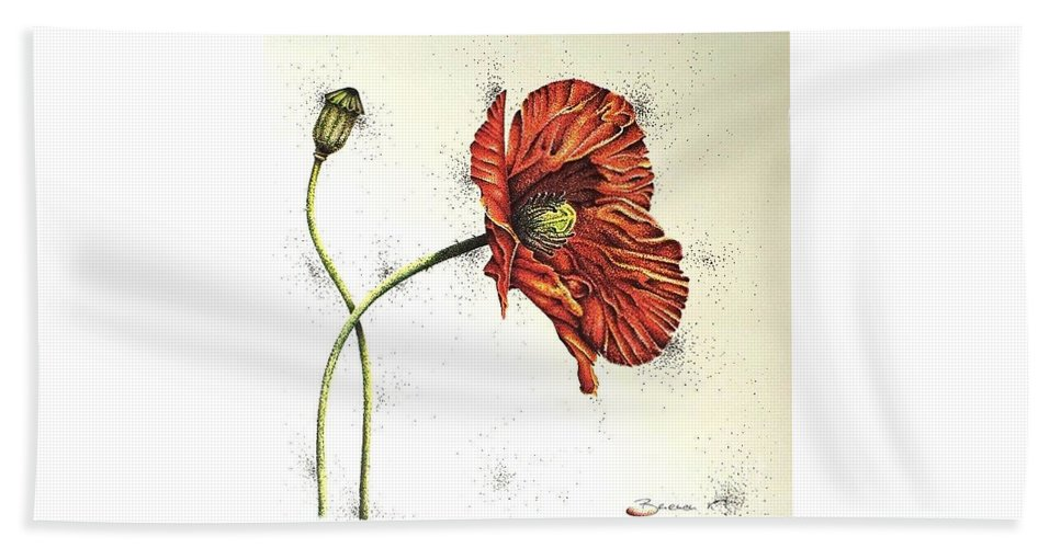 Poppies Beach Towel featuring the drawing Lady Yee by Katharina Filus