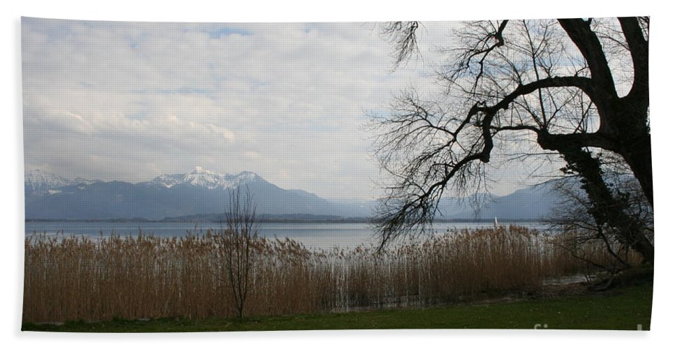 Lake Beach Towel featuring the photograph Lake And Mountains by Christiane Schulze Art And Photography