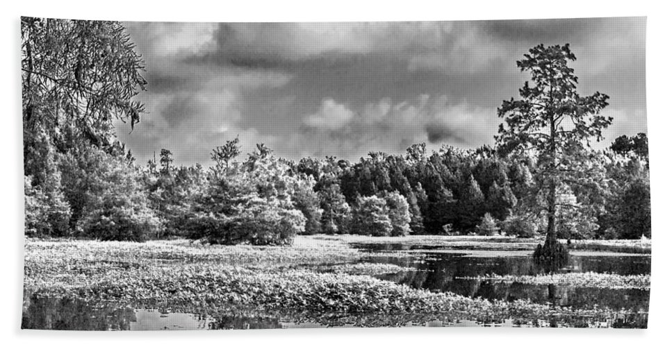 Vernon Lake Beach Towel featuring the photograph Lake In Black And White Two by Ken Frischkorn
