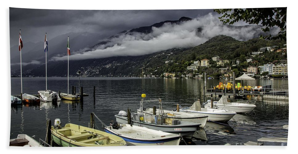 Building Beach Towel featuring the photograph Lake Maggiore Ascona by Timothy Hacker