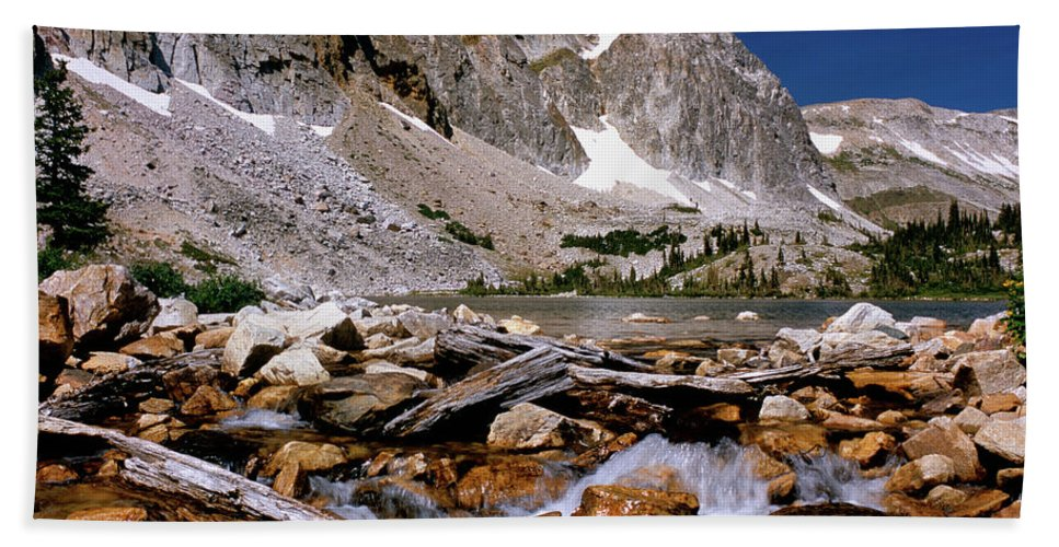 Mountains Beach Towel featuring the photograph Lake Marie Snowy Range by Ed Riche
