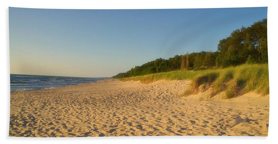 Lake Michigan Beach Towel featuring the photograph Lake Michigan Dunes 03 by Thomas Woolworth