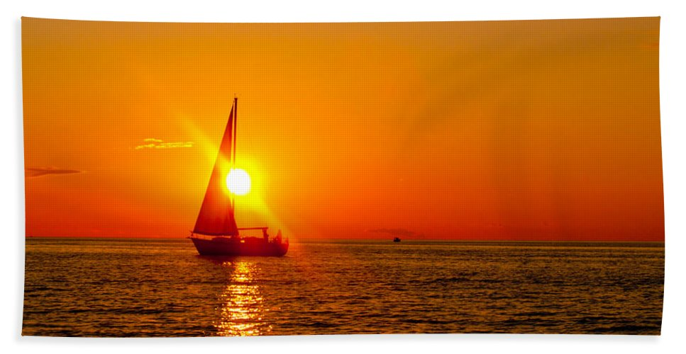 Lake Michigan Beach Towel featuring the photograph Lake Michigan Sunset by Bill Gallagher