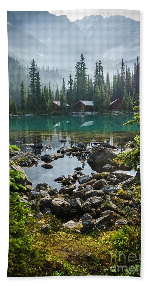 British Columbia Beach Towel featuring the photograph Lake O'hara Lodge by Carrie Cole