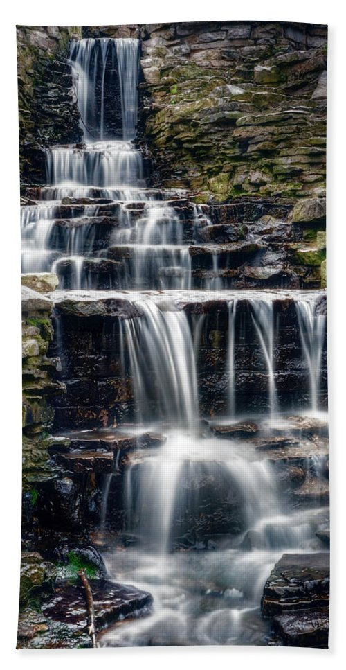 Waterfall Beach Towel featuring the photograph Lake Park Waterfall by Scott Norris