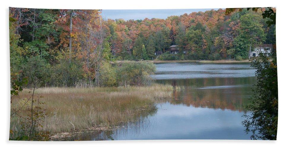 Lake Beach Towel featuring the photograph Lake Reflection by Linda Kerkau