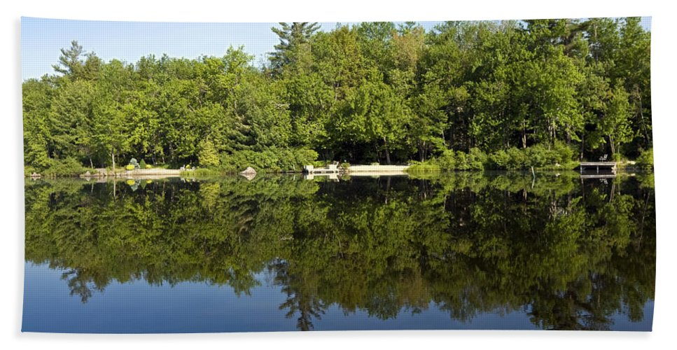 Lake Scene Beach Towel featuring the photograph Lake Reflections by Sally Weigand