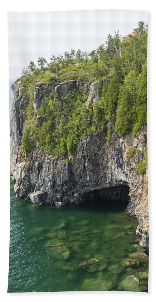 Great Beach Towel featuring the photograph Lake Superior Cliff Scene 10 by John Brueske