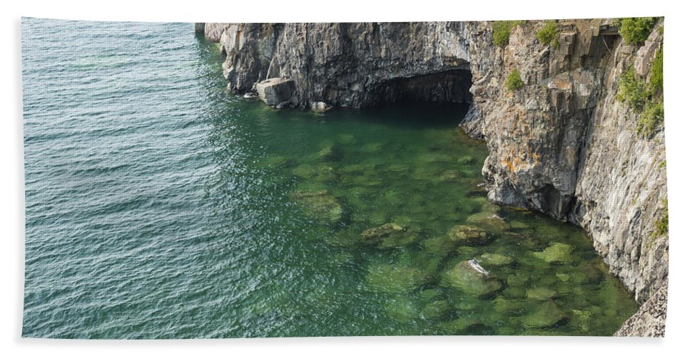 Great Beach Towel featuring the photograph Lake Superior Cliff Scene 7 by John Brueske
