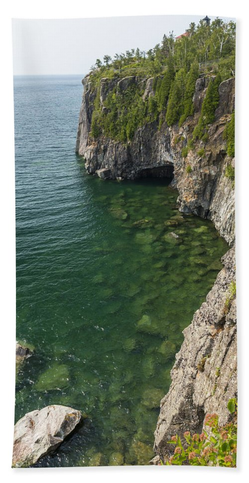 Great Beach Towel featuring the photograph Lake Superior Cliff Scene 9 by John Brueske