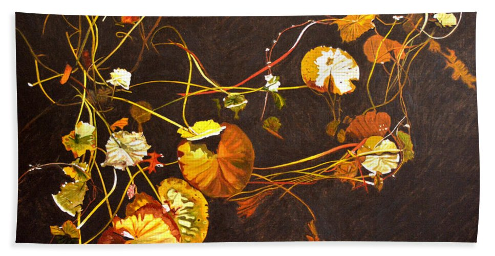 Waterlily Beach Towel featuring the painting Lake Washington Lily Pad 14 by Thu Nguyen