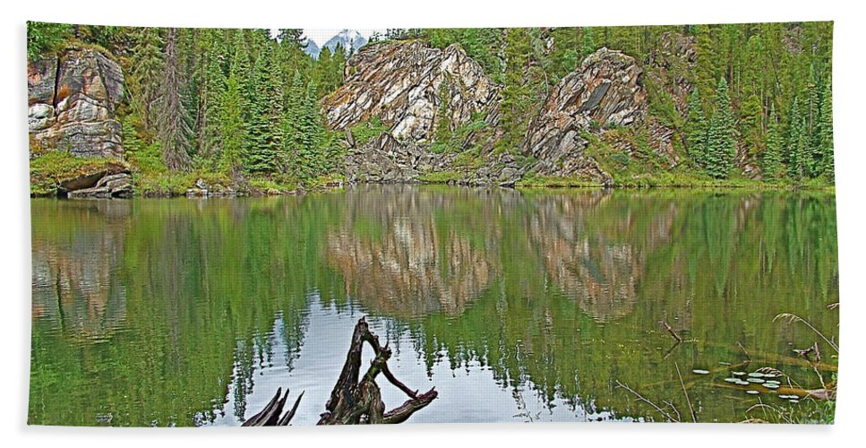 Lake Yellowhead Reflection Along Yellowhead Highway Beach Towel featuring the photograph Lake Yellowhead Reflection Along Yellowhead Highway-british Columbia-canada by Ruth Hager