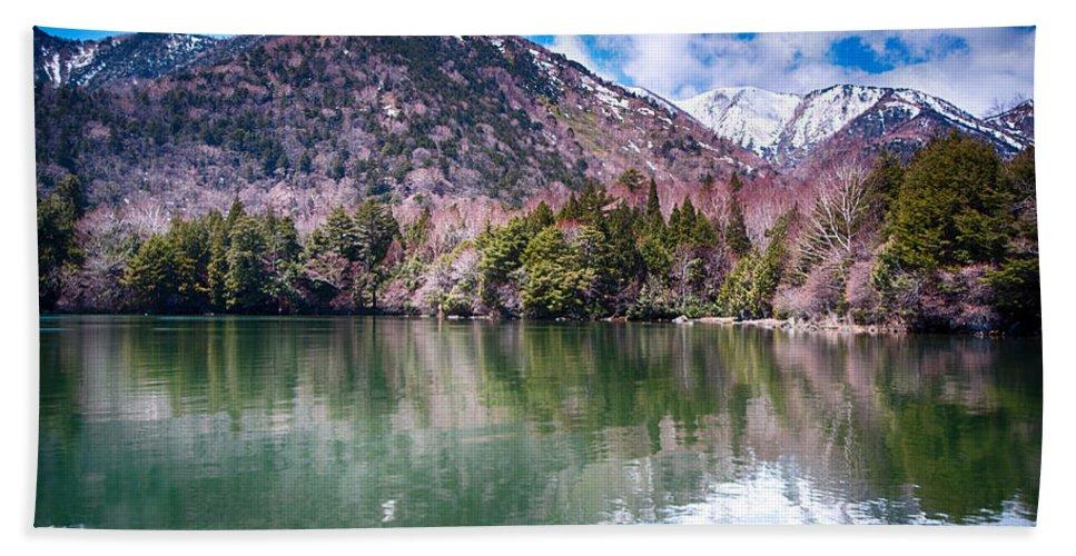 Japan Beach Towel featuring the photograph Lake Yunoko by Jonah Anderson
